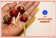 hoopla palooza: mini caramel apples. The site has you add a magnet- for SWAPs I'll use a safety pin or pin back. I'd simplify the craft as well- maybe skip the glitter, use Crayola modeling compound instead of polymer clay, etc.
