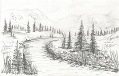 Tips On Finding The Best Landscape Supply Deals Mountain Landscape Drawing, Landscape Drawing Easy, Landscape Pencil Drawings, Nature Landscape, Landscape Sketch, Pastel Landscape, Landscape Artwork, Cool Landscapes, Pencil Drawings Of Nature