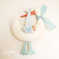Stork softie newborn decoration  Fiocco nascita cicogna