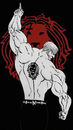 Black and white, Escanor, minimal, art, The Seven Deadly Sins wallpaper All Anime, Otaku Anime, Anime Guys, Manga Anime, Anime Art, Escanor Seven Deadly Sins, Black And White Lion, 7 Sins, Seven Deady Sins