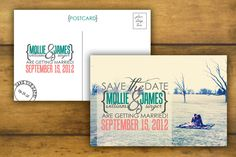 "I love ""postcard"" save the dates."
