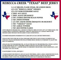 Beef jerky Venison Recipes, Sausage Recipes, Meat Recipes, Canning Recipes, Jerky Dehydrator, Dehydrator Recipes, Deer Jerky Recipe, Jerky Marinade