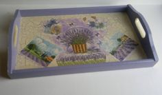 lavender wooden tray by PtahArtGallery on Etsy