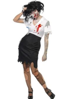 Zombie secretary costume Halloween female: Adults Costumes,and fancy dress costumes - Vegaoo Halloween Costumes For Sale, Adult Costumes, Costumes For Women, Zombie Costumes, Halloween Makeup, Halloween Party, Crazy Costumes, Zombie Party, Halloween 2015