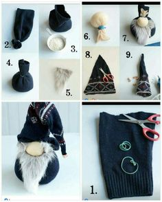 Sock Crafts, Holiday Crafts, Fun Crafts, Christmas Gnome, Christmas Projects, Christmas Ideas, Theme Noel, Christmas Decorations, Christmas Ornaments
