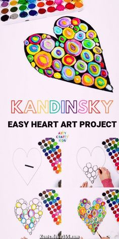 Arty Crafty Kids Kandinsky Heart Art Project a simple art idea for kids that explores colourmixing and encourages children to play with colour combinations Easy Art Projects, School Art Projects, Project Ideas, Children Art Projects, Art For Children, Kids Art Lessons, Art Project For Kids, Easy Kids Art Projects, Art Education Projects