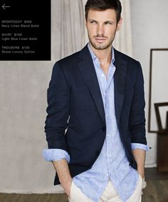 J. Hilburn Navy Linen Sportcoat with a Light Blue Linen Custom Shirt.