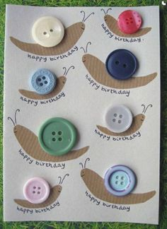 button snail craft « Preschool and Homeschool Fabric Cards, Paper Cards, Button Art, Button Crafts, Summer Crafts, Crafts For Kids, Diy Birthday Card For Boyfriend, Snail Craft, Unique Birthday Cards