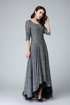 Slip extender high low dress linen dress maxi dress grey