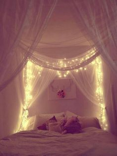 Curtain headboard with lights dream bedroom, fairytale bedroom, dream rooms, home bedroom, Dream Rooms, Dream Bedroom, Home Bedroom, Master Bedroom, Bedroom Drapes, Light Bedroom, Magical Bedroom, Pretty Bedroom, Fairytale Bedroom