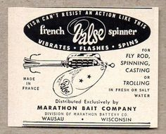 1956 Print Ad French Valse Spinner Fishing Lures Marathon Bait Wausau,WI