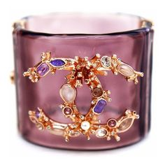 Pre-Owned Crystal Cc Lucite Cuff ($1,269) ❤ liked on Polyvore featuring jewelry, bracelets, pink, crystal bangles, cuff bangle, colorful jewelry, pink crystal jewelry and chanel bangles