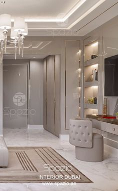 Master bedroom interior design for a luxury house. The bedroom interiors was created for modern Arabic home. More interior design ideas is on the web site. #LuxuryBeddingLayout
