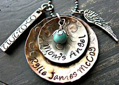 Hand Stamped Necklace - Personalized Jewelry - Hand Stamped Mothers Necklace - Mixed Metal Necklace - Circles and Swivel Bar. $90.00, via Etsy.