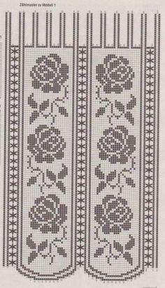 Inspiration - Crochet curtains for the kitchen. Crochet Curtain Pattern, Crochet Curtains, Curtain Patterns, Crochet Tablecloth, Crochet Doilies, Rose Curtains, Thread Crochet, Crochet Stitches, Knit Crochet