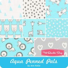 Aqua Penned Pals Fat Quarter Bundle<br/>Jennifer Sampou for Robert Kaufman Fabrics