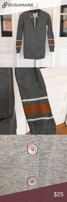 Varsity Cardigan Gray cardigan with rust & white stripes on sleeve by wrist Energie Sweaters Cardigans