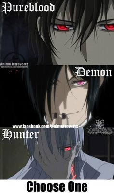 Vampire / demon /  hunter ... choose one...dont ask me they are all awesome guys....@Claudia Park Park Hood Faustus ??