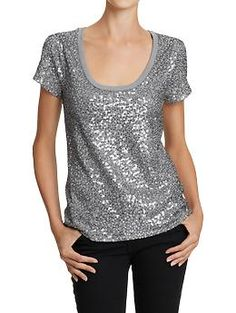 Cute cheapness. Cheap cuteness. Women's Sequined-Front Tees | Old Navy