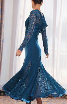 Dance America D304 - Draped Lace Embellished Ballroom Dress