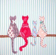 The four cats - great design for a DIY greeting card, pillow or tea towel. Applique Templates, Applique Patterns, Applique Quilts, Applique Designs, Quilt Patterns, Applique Ideas, Owl Templates, Cat Crafts, Sewing Crafts