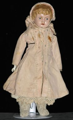 15  Minerva German #3 1/2  Tin Head Doll Jointed Knees*AS IS* Restoration Parts*
