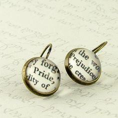 Pride and Prejudice Earrings- Jane Austen Literary Quote Jewelry - Book Jewelry - Romantic Gift