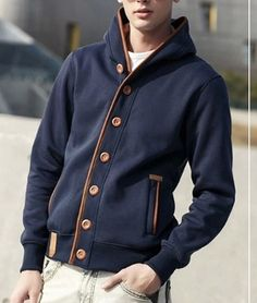 Men's Hoodie with Elbow Patch Design