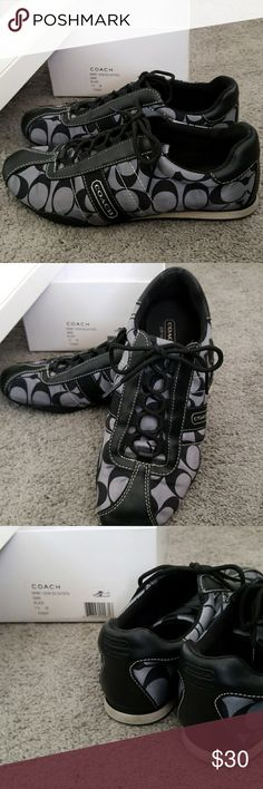 Coach Tennis shoes Coach Kirby satin black and Gray Size 7.5  medium Lace up Tennis shoes In great condition Coach Shoes Sneakers