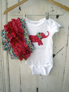 Toddler Ruffled Diaper Cover Set with Elephant by zoegirldesigns, $33.50