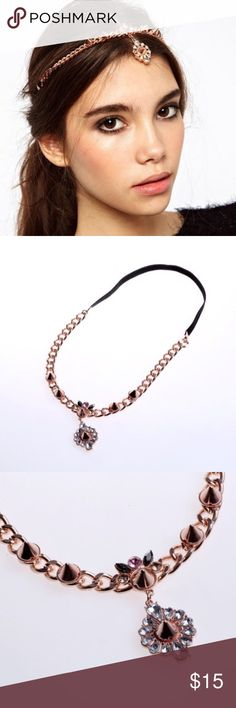 """Boho Jewelry Crown Headband in Rosegold One size elastic back stretchy This hair band is a stunner.  It has a boho vibe with crystals and spike details.  The back is elastic for a sure fit.  Looks beautiful whether your hair is down or pulled up.  Measurement:  21.25""""  Jewel approx. 1"""" Elastic Back Accessories Hair Accessories"""