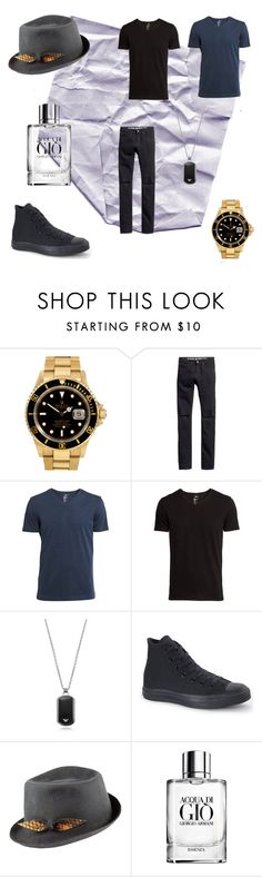 """Untitled #1"" by fashion-styla123 ❤ liked on Polyvore featuring Rolex, H&M, Emporio Armani, Converse, Justine Hats and Giorgio Armani"