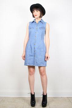 Vintage Blue Denim Dress Mini Dress 1980s 80s Chambray Blue Jean Jumper Sundress Shirtdress New Wave Overalls Dress Shift dress M Medium by ShopTwitchVintage #1980s #80s #vintage #80s #denim #dress #shirtdress