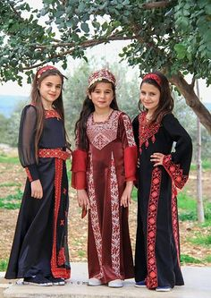 """Embroidery Folk Girls in modern variants of Palestinian folk costumes. The dresses are decorated with the traditional embroidery of Palestine called """"tatriz"""" Folk Clothing, Historical Clothing, Costumes Around The World, Palestinian Embroidery, Folk Embroidery, Culture, Folk Costume, Traditional Dresses, People"""