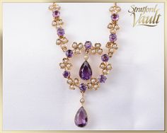 Art Nouveau Lavelier ~ Seed Pearl and Amethyst ~ Yellow Gold ~ 38 Bead Set mm Genuine Seed Pearls ~ 12 Genuine Amethyst ~ by StratfordVault on Etsy Art Nouveau, Amethyst, Pearl, Jewels, Chain, Trending Outfits, Antiques, Unique Jewelry, Handmade Gifts