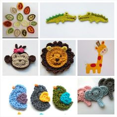 crochet jungle animal appliques - Google Search