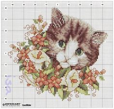 Tender cat face among the flowers - free cross stitch patterns Cat Cross Stitches, Vintage Cross Stitches, Cross Stitch Needles, Cross Stitching, Cross Stitch Embroidery, Embroidery Patterns, Cross Stitch Patterns, Cross Stitch Cards, Cross Stitch Animals