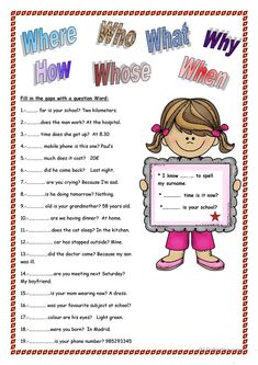 Students practice the use of interrogative question words. They fill in the gaps with the correct pronoun. I hope they enjoy this worksheet and help you to clarify. English Grammar For Kids, Learning English For Kids, Teaching English Grammar, English Worksheets For Kids, Grammar Book, English Language Learning, English Study, English Words, English Lessons