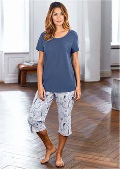 Pyjama, bpc bonprix collection, indigo/lichtgrijs gemêleerd gedessineerd