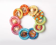 Baby Teething Toy / Natural Eco-friendly unfinished Wooden Teething Ring in bright colors - Pick one on Etsy, $8.00