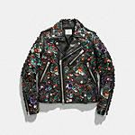 Moto Jacket With Leather Sequins - Alternate View 3