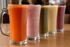 These are actually raw juice recipes, but I think it'd be pretty easy to make them into smoothies. I love raw juice anyway, and these sound really good. Raw Juice, Juice Drinks, Juice Smoothie, Smoothie Drinks, Yummy Drinks, Healthy Drinks, Smoothie Recipes, Detox Drinks, Fruit Drinks