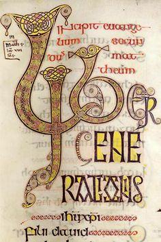 Evangiles d'Echternach enluminiure - Enluminure insulaire 7) Le manuscrit contient 4 miniatures en pleine page, représentant les symboles des évangélistes, contrairement aux évangéliaires de cette époque.