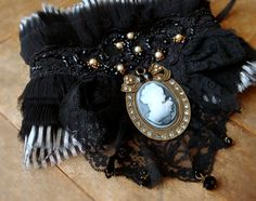 Items similar to Cameo Necklace - Romantic Black Lace Silk & Ruffles Victorian Vintage Style Choker Statement Wearable Art Costume Artisan Jewelry on Etsy Vintage Mode, Vintage Style, Romantic Goth, Art Costume, Lace Silk, Cameo Necklace, Lace Collar, Artisan Jewelry, Wearable Art