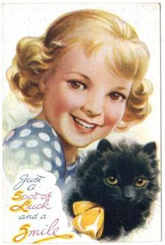 Just a Spot of Luck and a Smile ~ vintage postcard