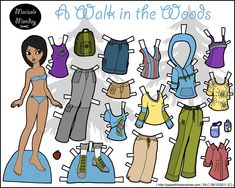Take a long walk in the woods with this full color printable paper doll.