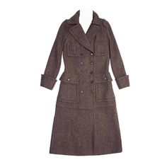 Louis Vuitton Brown Wool Tweed Hooded Coat   From a collection of rare vintage coats and outerwear at…
