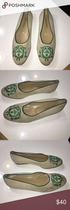 """Vintage authentic Bottega Veneta signature flats 7 Vintage authentic Bottega Veneta signature canvas & leather flats sz 7 Bottom sole measures 8.75"""" long says size 7.5 but run a bit small. Canvas has some light stains/marks and bottom soles show wear. Sold as is Bottega Veneta Shoes Flats & Loafers"""
