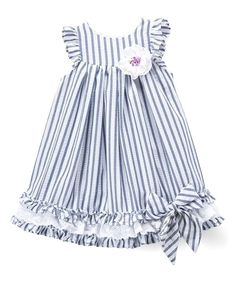 Take a look at this Blue & White Stripe Bow-Accent Angel-Sleeve Dress - Infant, Toddler & Girls today! Toddler Dress, Toddler Outfits, Girl Outfits, Infant Toddler, Toddler Girls, Fashion Kids, Baby Frocks Designs, Baby Dress Design, Kids Frocks