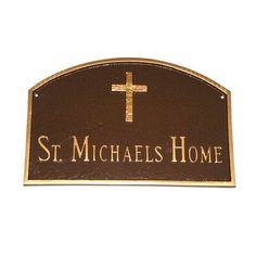 Montague Metal Products Prestige Arch with Rugged Cross Address Plaque Finish: Hunter Green / Gold, Mounting: Wall